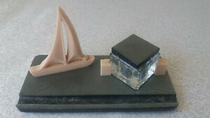 STYLISH RETRO CELLULOID 1950/ 60S INKWELL DESK STAND - YACHT - 6 1/2 INCH