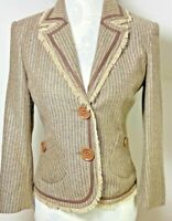 River Island Blazer Size 10 Suit Jacket Country Fitted Brown Tweed Wool Blend