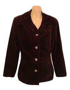 Billabong Vintage Retro Purple Velvet Jacket Size 10 Button Up Lined Pockets