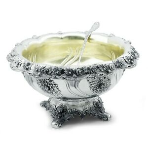 Tiffany & Co Chrysanthemum Sterling Punch Bowl & Ladle 1895