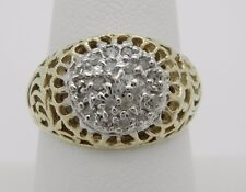 Antique Filigree 10K Yellow Gold 1/4CTW Diamond Cluster Cocktail Ring~Size 8 1/4