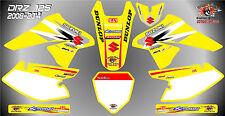 suzuki drz125 decals graphics laminated stickers motocross mx 125 yellow 08 -14