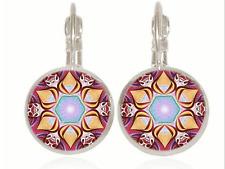Mandala flower Tibet silver Glass cabochon 18 mm Lever Back Earrings #45-46