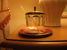 RETRO GLASS JAM SERVING POT WITH GLASS SPOON & TRAY