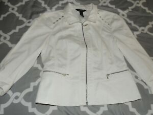 White House Black Market Jacket Size 10 Full Zip White Dressy SEXY EUC