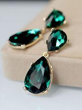 Costume Fashion Earrings Studs Big Two Drop Green Emerald Vintage Bridal B13