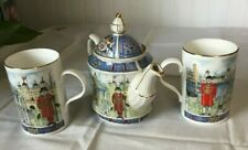 James Sadler Teapot with Two Tea Cups Made in England Thameside