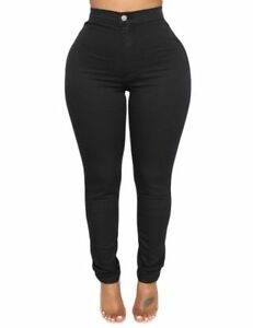 Black Stretch High Waist Fitted Skinny Soft Denim Jeans in Small Medium Large