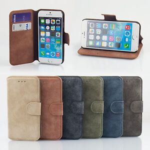 Genuine Brushed Leather Flip Wallet  Case Cover For iPhone 6 & iPhone 6 Plus