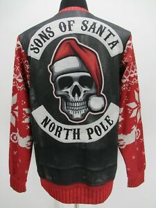 M9376 VTG Men's Gearbunch Sons Of North Pole Motorcycle Nordic Sweater Size M