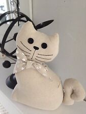 Adorable Cat Door Stop Linen with Polka Dot Bow & Button Eyes
