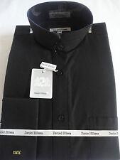Mens Black Nehru Collarless Victorian Collar French Cuff Dress Shirt DS3002C
