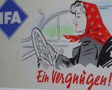 IFA Ein Vergnügen REKLAMESCHILD für MZ, Simson, W50, Barkas, Trabant P 70 DDR