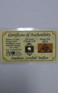 Gold bullion 1 grain 24 Karat 99.99