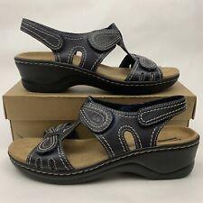 Clarks Lexi Walnut Q Leather Wedge Slingback Sandals Women's Size 9.5 M Black