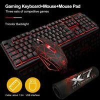 Ergonomic USB Gaming LED Backlit Keyboard Mouse Set For PC Laptop PS4 Xbox Win10