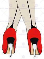 HIGH HEELS SHOES FEET WOMAN LEGS RED ILLUSTRATION PHOTO PRINT POSTER BMP1572B