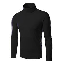 Men's Knitted Polo Roll Turtle Neck Pullover Sweater Jumper Tops New Casual Slim