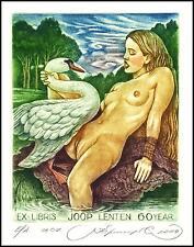 Kirnitskiy Sergey 2004 Exlibris C4 Mythology Leda and Swan Erotic Nude Bird 98