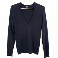 Christopher Fischer Women's Cashmere Pullover Sweater XS Navy Blue Deep V-Neck