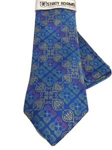 Stacy Adams Men's Tie & Hanky Set Royal Blue Champagne Fuchsia Lime Microfiber