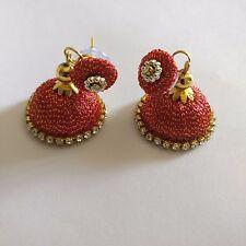Red Silk Thread Handmade Fashion Indian Partywear Earrings Jhumka Jhumki