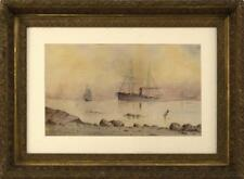 AMERICAN SCHOOL, Late 19th Century, A steam/sail ship rounding a ligh... Lot 807