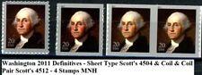 Washington Definitive 2011 Sheet Stamp & Coil Single & Pair 4504 & 4512 MNH