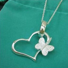 """Women Chain Necklace 18"""" Yp090 Sterling Silver Lovely Butterfly Pendant"""