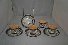 NORMALLY CHINA BLACK DRAGON 4 DEMI CUPS AND SAUCERS MADE IN JAPAN