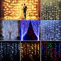 3mx3m 300 LED String Fairy Curtain Lights Waterfall Lamp New Year Wedding Party