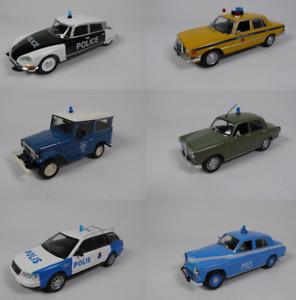 Lot de 6 Voitures de Police 1/43 Citroën Audi Alfa Toyota Miniature Diecast LPM6