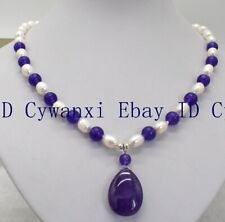 """7-8mm White Akoya Cultured Pearl&Purple 8mm Amethyst pendant Necklace 18"""""""