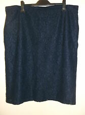 "M&S Fully Lined Allover Floral Lace Knee Pencil Skirt UK22L W41 L27"" Navy BNWT"