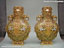 Royal 100% pure Bronze cloisonne 24K Gold Crane Longevity Blessing Vases pair
