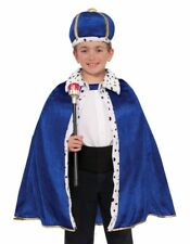 Blue King Robe & Crown Queen Costume Royal Cape Child Boy's Girls Wiseman Fur