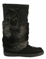 BRAND NEW WOMENS BLACK MUKLUK BOOTS, REAL LEATHER SUEDE - SIZE 9