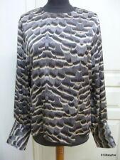 Gerard Darel Top blouse motif plumes gris noir brun ecru 42