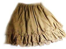 Korean Women's Fashion Faux Suede Floral Hollow Out Mini Skirt Brown