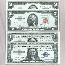 2 CONSECUTIVE PAIRS: (2) 1963 $2 Red Seal & (2) 1957 $1 Silver Certificates XF