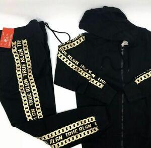 TRUE RELIGION Men's Logo Zip Sweatsuit Black Size Xlarge