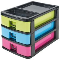 Office Bedroom Plastic Storage Shallow Drawers 3 Drawer Paper Tower 27x18.5x20cm