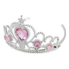 Hochzeit Braut Herz geformt Kunststoff Strass Krone Stirnband Silber+Rosa