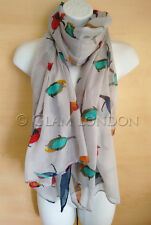 Robin Scarf Tropical Colourful Birds Print Ladies Fashion Big Christmas Wrap