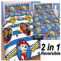 NEW PAW PATROL PAWSOME DOUBLE DUVET QUILT COVER SET BOYS KIDS CHILD BLUE BEDROOM