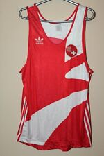 Switzerland Vintage Adidas 80 Training White Red Paralympic Singlet Jersey Shirt