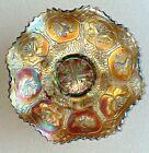 ANTIQUE FENTON DRAGON & LOTUS CARNIVAL GLASS RUFFLED CANDY DISH MARIGOLD