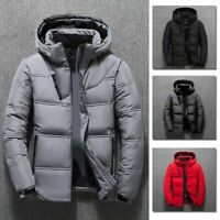 Men White Duck Down Padded Bubble Puffer Quilted Jacket Winter Warm Coat Parka