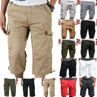 Mens Summer Casual Elasticated Shorts Waist Cargo Combat Three Quarter Pants New