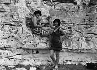 OLD PHOTO MARGATE KENT 1929 Two Women Bathers Sitting Out On The Cliffs